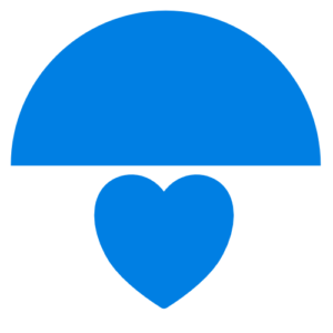 logo - two half disks - one sky blue on top and one half white at the bottom. Blue heart symbol in white section.
